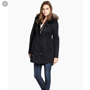 H&M Mama Maternity faux fur lined parka size XS